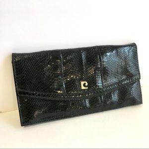 Vintage Pierre Cardin Snakeskin Clutch Black 70's